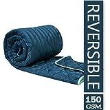 Divine Casa Everyday Striped Polyester Single Comforter - Blue Topaz and Aquarius (150 GSM)