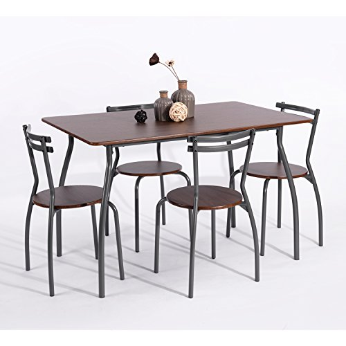 eHomeProducts 5pc Dining Dinette 4 Person Table and Chairs Set Metal Frame Dining Kitchen Breakfast in Walnut Finish by eHomeProducts