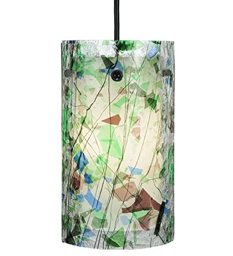 Pendant Confetti Glass (Meyda Tiffany Custom Lighting 110599 Times Square Fused Glass 1-Light Mini-Pendant, Black Finish)