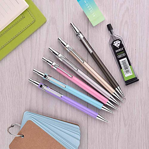 Mechanical Pencil Set, 6 PCS 0.7 mm Mechanical Pencils, 6 Tubes HB Lead Refills, 5 Pack Erasers and 1 Pack Lucky Pencil Bags For School and Office Photo #6