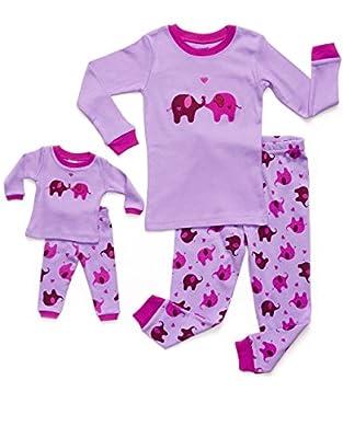 Leveret Little Girls Matching Doll & Kid Elephant 2 Piece Pajama (2-10 Years)