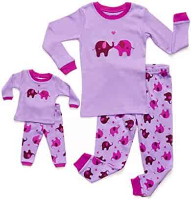 Leveret Matching Doll & Girl 2 Piece Pajama Set Top & Pants 100% Cotton (2 Toddler-10 Years)