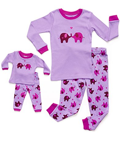 Leveret Elephant Matching Doll amp Girl 2 Piece Pajama Set 100% Cotton 8 Years