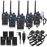BAOFENG UV-5X 5PCS UHF+VHF Dual Band/Dual Watch Two-Way Radio FM Function Walkie Talkie Transceiver+Programming Cable+BF-S112 Mic+Battery-Lightwish