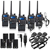 BAOFENG UV-5X 5PCS UHF+VHF Dual Band/Dual Watch Two-Way Radio FM Function Walkie Talkie Transceiver+Programming Cable+BF-S112 Mic+Battery-Lightwish