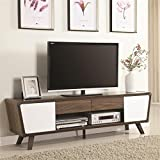 """Coaster 74"""" TV Stand in Chestnut and Glossy White"""