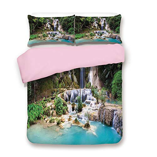 (Pink Duvet Cover Set,Full Size,Waterfall in Corner of Lake in Laos Surrounded by The Vietnamese Trees,Decorative 3 Piece Bedding Set with 2 Pillow Sham,Best Gift for Girls Women,Blue and Green)
