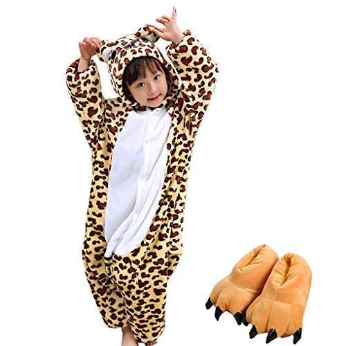 Kids Animal Costume Cosplay Leopard Plush Pajamas Attach Paw Shoes (8-13 -