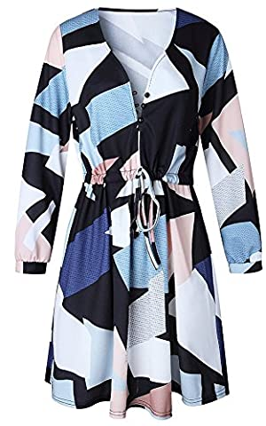 Hslieey Women's Casual V Neck 3/4 Sleeve Geometric Pattern Floral Printed Dress (Dresses With Geometric Pattern)