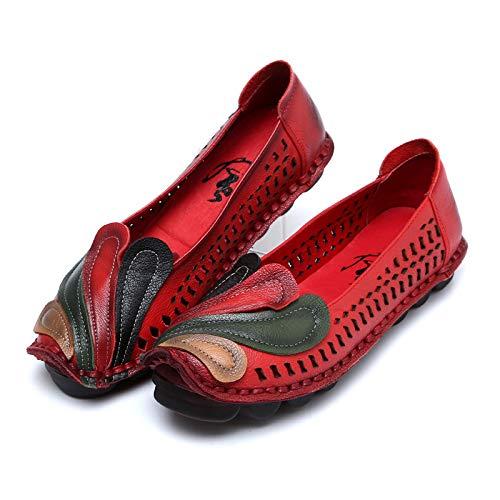 Fuxitoggo Phoenix Phoenix Phoenix Women traspirante Flats in pelle scava fuori mocassini da cucire (Colore : Cachi, Dimensione : EU 40) Rosso 5e48a6