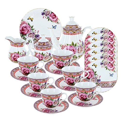 Deluxe Porcelain Tea Set - Roses and Tartan Deluxe Tea Set