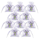 10 bag Dried Lavender Buds Cozy Pouch Sachets Natural Deodorizer Moth Repellent Fragrance Lavender Scent Sachets for Aromatherapy-Car-Closet-Drawers-Moths-Wardrobe(12g per bag) (Purple)