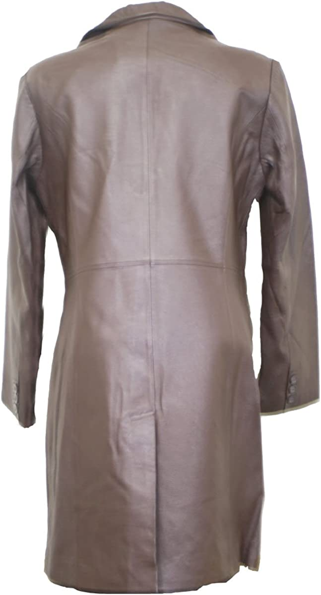 Dona Michi Womens 3//4 Length Jacket Brown Genuine Leather