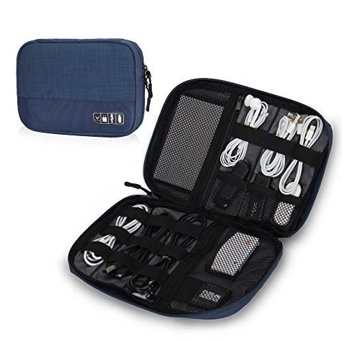 Small Electronic Pocket (Hynes Eagle Travel Universal Cable Organizer Electronics Accessories Cases For Various USB, Phone, Charger and Cable, Blue)