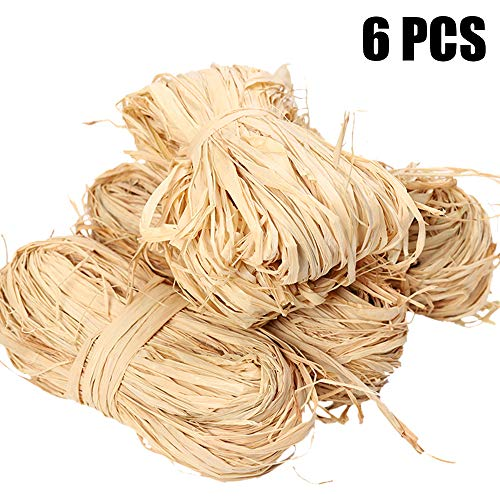300 g Natural Raffia Paper Ribbon for Florist Bouquets Decoration Crafts ,Christmas Raffia Gift Wrap Ribbon Total 6 x 50g