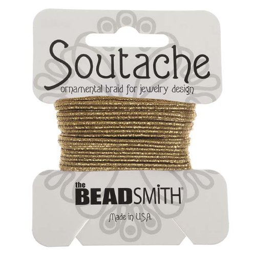 BeadSmith Textured Metallic Soutache Braided Cord 3mm Wide - Matte Gold /3 Yards ST1590-3-R