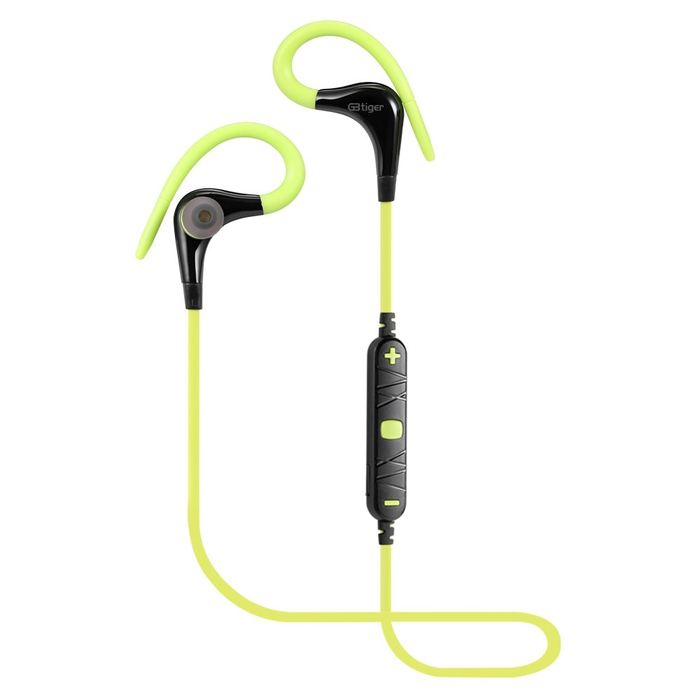 Bluetooth Earphone In-ear Earbuds, GBTIGER Bluetooth 4.0 Wireless Hand-free Call with Mic Stereo Noise Cancellation Earphone for Sport Business Driving etc, Green