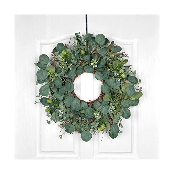 POETIC WREATH F12 Large 21 inch Green Eucalyptus Leaves Grapevine Wreath.Year Round Wreath.Spring Wreath.Summer Wreath.Front Door Wreath.Festival Wreath.Gifts Handmade Wreath.Rustic Wreath