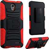 zte prelude 2 cell phone - 2Layer Rugged Rubber Case Cover w/Holster Belt Clip for ZTE Prestige 2 / Avid Plus / Sonata 3 / Avid Trio / ZFive 2 / Maven 2 / Maven 3 / Overture 3 Phone (Black on Red)
