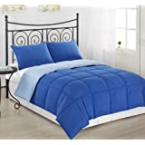 Cozy Beddings 2-Piece Reversible Down Alternative Mini Comforter Set with Anti-Microbial Finish, Twin, Royal Blue/Light Blue