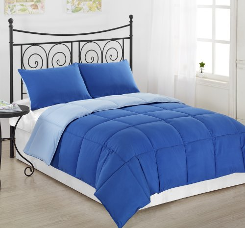 Cozy Beddings 3-Piece Reversible Down Alternative Mini Comforter Set with Anti-Microbial Finish, King, Royal Blue/Light (Blue 3 Piece Mini Comforter)
