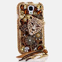 HTC ONE M9 Bling Case, LUXADDICTION Bling Case Cover Faceplate Swarovski Crystals Diamond Sparkle Bedazzled Jeweled Protective Back Snap-On Hard Case For HTC ONE M9 (100% Handmade by LuxAddiction) (Leopard Cheetah Head with Feather Phone Charm)