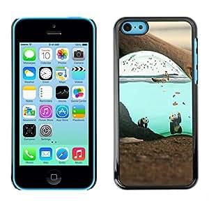 Caucho caso de Shell duro de la cubierta de accesorios de protección BY RAYDREAMMM - iPhone 5C - Lindo surrealista Submarino Panda