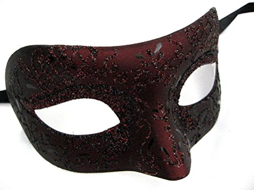 Burgundy Black Venetian Half Mask Spanish Vampiress Women'S Costume Accessory