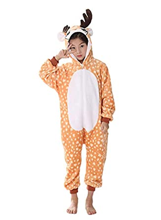 e987a3ad5d16 Amazon.com  Deer Onesie Adult Kids Pajamas Onepiece Christmas Cosplay  Costume Animal Outfit  Clothing