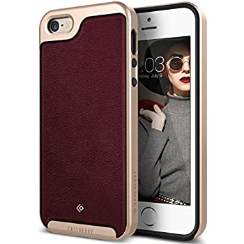 iPhone SE Case, Caseology [Envoy Series] [GENUINE LEATHER] [Leather Cherry Oak] Leather Bound Bumper Cover for Apple iPhone SE (2016) & iPhone 5S / 5 (2013) ...