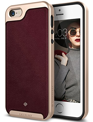 iPhone SE Case, Caseology [Envoy Series] [GENUINE LEATHER] [Leather Cherry Oak] Leather Bound Bumper Cover for Apple iPhone SE (2016) & iPhone 5S / 5 (2013) - Leather Cherry Oak