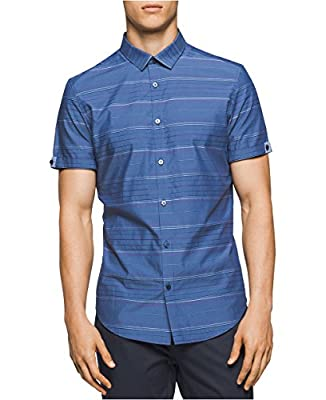 Calvin Klein Men's Striped Cotton Casual Button-Down Shirt