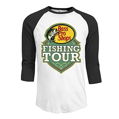 Price comparison product image MYDT1 Men's Authentic Bass Pro Shops Fishing Tour 3 / 4 Sleeve Baseball T Shirts / Short Sleeve / Top / Tee