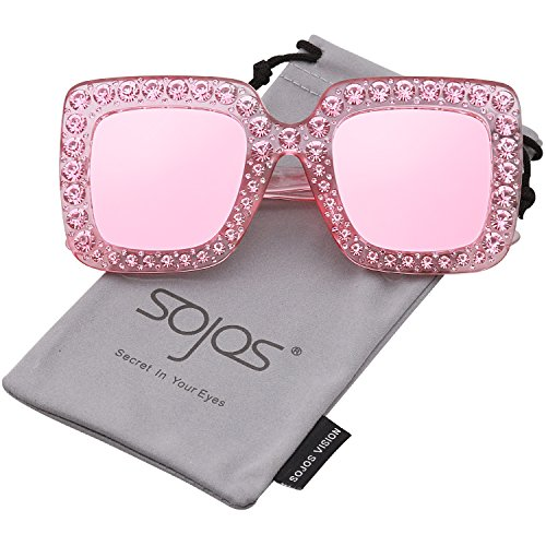 SojoS Crystal Oversized Square Brand Designer Sunglasses for Women SJ2053 with Pink Frame/Pink Mirrored - Sunglasses Designer Mirrored