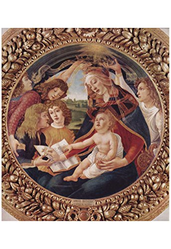 Laminated Sandro Botticelli (Madonna del Magnificat, Scene: Mary with Christ child and five angels, Tondo) Poster 13 x - Madonna Botticelli