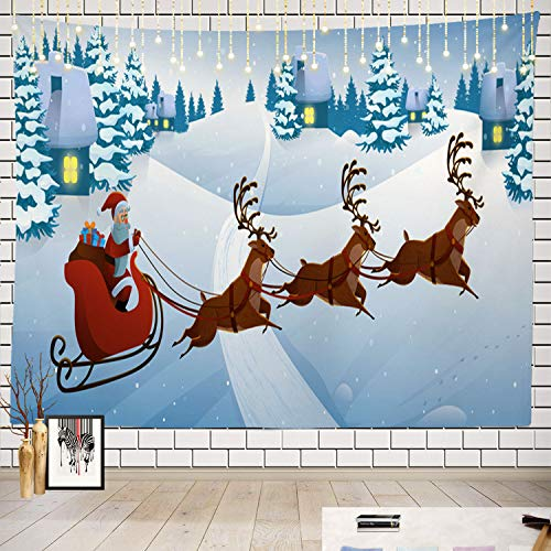 Batmerry Deer Tapestry, Santa Claus Deer Sleigh with Reindeers Snow Picnic Mat Beach Towel Wall Art Decoration for Bedroom Living Room Dorm, 51.2 x 59.1 Inches, Black