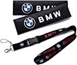 Alinall 2 PCS Carbon Fiber Car Seat Belt Cover Shoulder Pad + 1 Pcs Keychain Lanyard Badge Holder for BM W Accessories