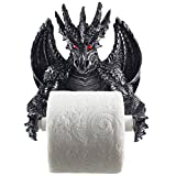 Gothic Decor Mythical Winged Dragon Toilet Paper Holder in Metallic Look for Medieval and Gothic Home Decor Bathroom Accessories or Whimsical Fantasy Gifts