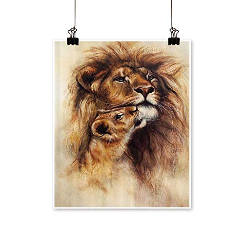 """Single paintingstrati Painting of Loving Li and Baby Cub Snuggle Wildlife Nature Office Decorations,16"""" W x 24"""" L/1pc(Frameless)"""
