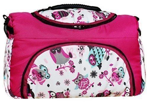 TP-39 Wickeltasche PIA von Baby-Joy XXXL Übergröße Pink Weiß Eule 5 Windeltasche Pflegetasche Babytasche Tragetasche