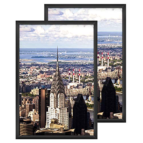 ONE WALL 24x36 Inch Poster Frame, Black Metal Aluminum Movie Poster Frame Set of 2 for Photo Picture Poster Artwork Wall Hanging - Wall Mounting Hardware Included