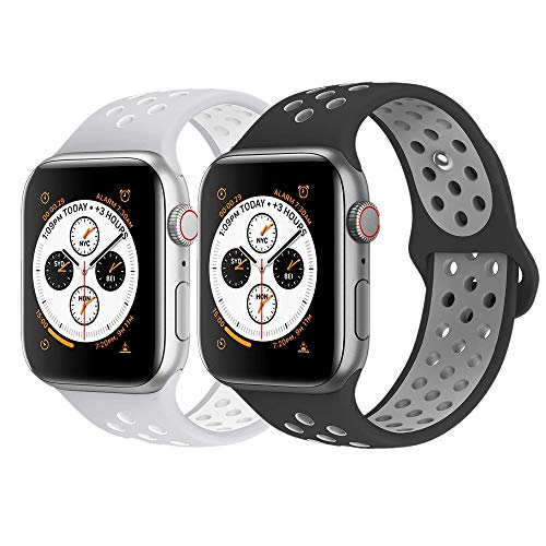iWatch Band, KADES Breathable Soft Silicone Replacement Band Compatible for Apple Watch Series 4 44mm& Series 1/2/ 3 42mm (2-Pack, Black/Gray, Gray/White)