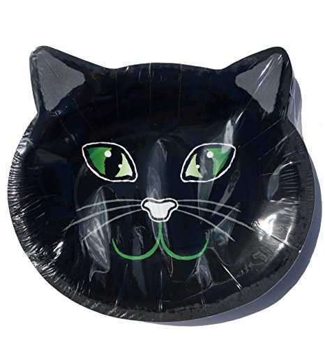 Lady Jayne 16 ct Green Eyed Black Cat Large Shaped Paper Plates (8.5 in x 9.25 in) 29643