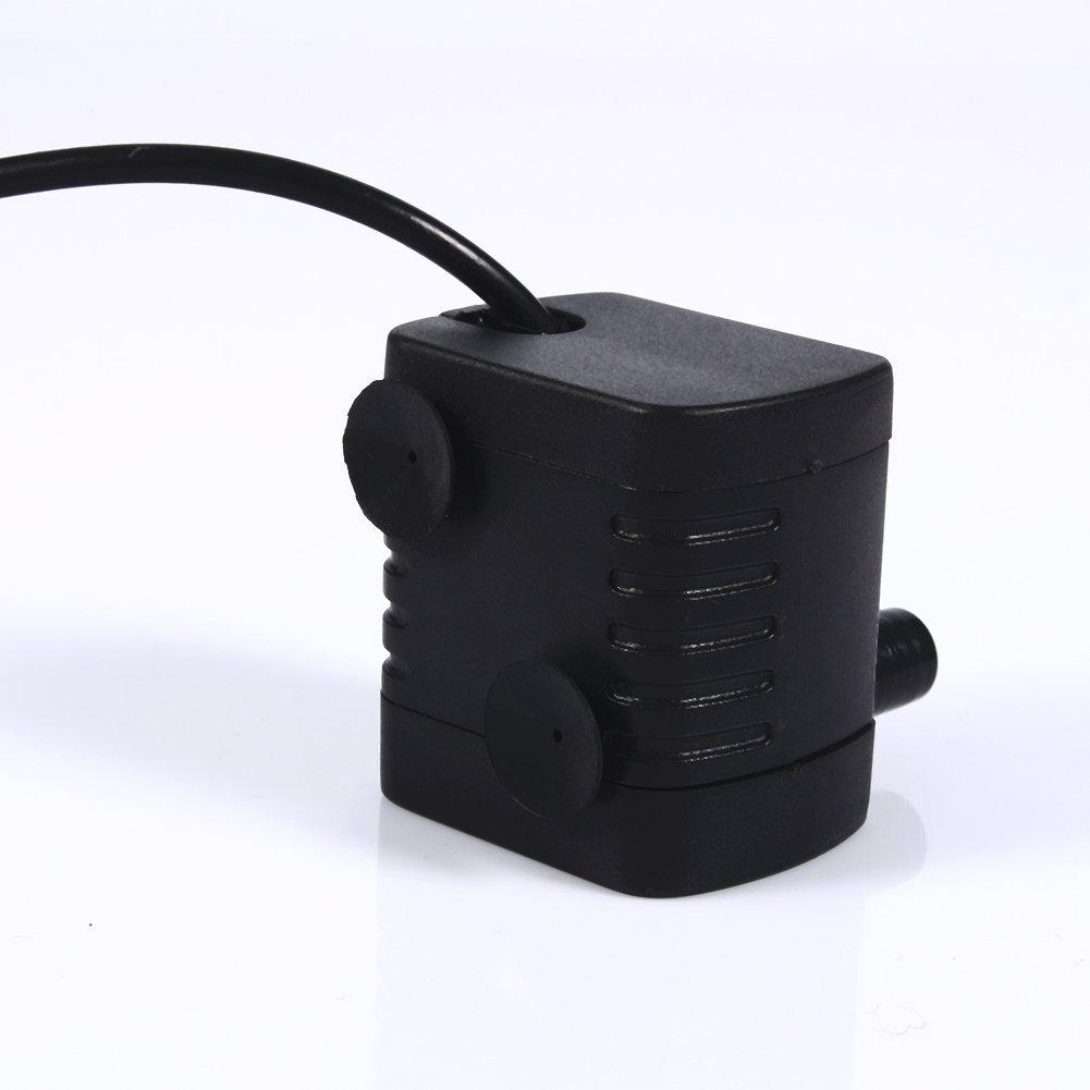 Fdit Brushless DC 6V 2W Micro Pompe /à Eau Submersible avec Prise USB Solaire Ultra-Silencieux Mini Brushless Pompe de Refroidissement /à Eau pour Fontaine Aquarium Circulation