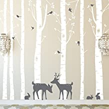 Huge Size Trees Wall Stickers Set of 7 Birch Trees with Deer and Birds in 2 Colors Removable Vinyl Wall Decals tree Decor 257cm Tall