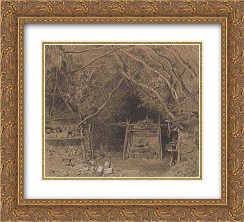 Constant Troyon - 32x28 Gold Ornate Frame and Double Matted Museum Art Print - The Workshop of a Wooden Shoe Maker