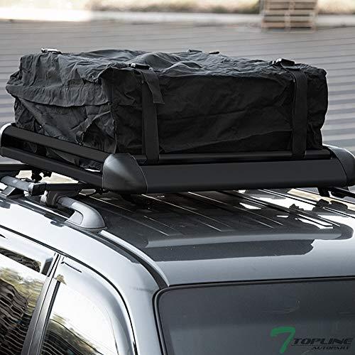 Black Square Type Roof Rail Rack Cross Bar Kit+Cargo Carrier Luggage Basket T1 ()