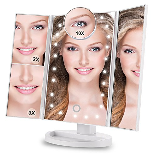 Makeup Vanity Mirror with 24 LED Lights Yougai Tri-Fold 2X 3X Magnification, Detachable 10X Magnifying Mirror, 180°Adjustable Rotation, Dual Power Supply, Touch Screen Professional Makeup Mirrors -