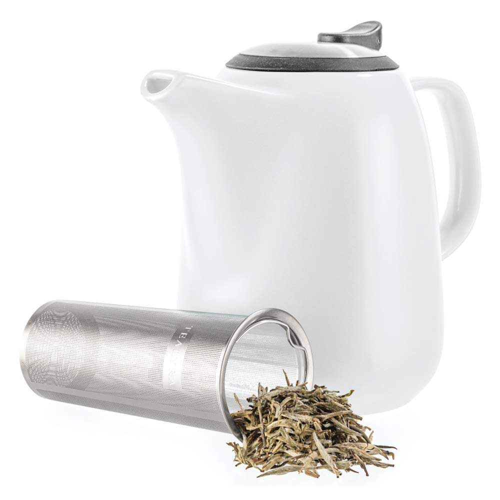 Tealyra - Daze Ceramic Large Teapot White - 47-ounce (6-7 cups) - With Stainless Steel Lid Extra-Fine Infuser for Loose Leaf Tea - 1400ml