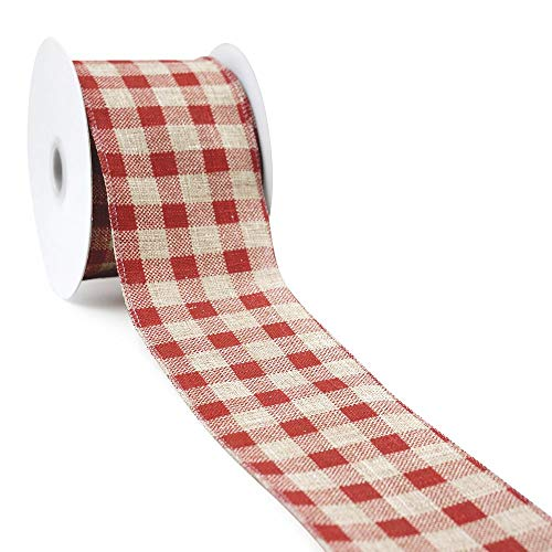 (CT CRAFT LLC Natural Faux Jute with Red Plaid Wired Ribbon - 2.5 Inch x 10 Yards x 1Roll)